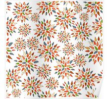 Abstract colorful flowers on white background. Poster