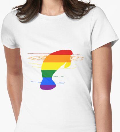 Rainbow Manatee Womens Fitted T-Shirt