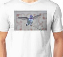 WHITE EARED HUMMINGBIRD IN AN ANGEL WING POSE ON YUCCA REED Unisex T-Shirt