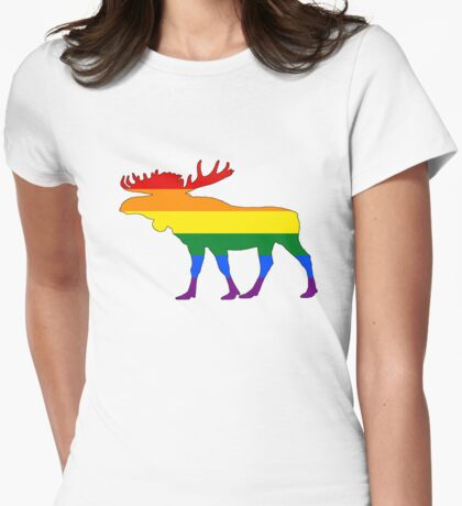 Rainbow Moose Womens Fitted T-Shirt
