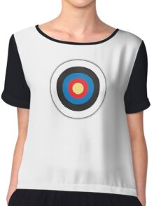 Bulls Eye, Archery, Target, Mod, Roundel, on WHITE Chiffon Top