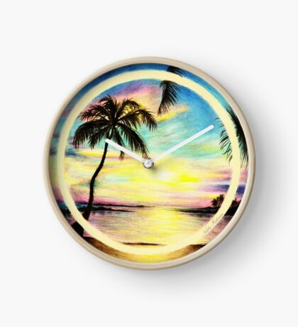 Summer Sunset by the Sea Clock