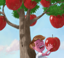 Boy with Apple Tree Sticker