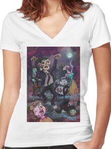 Cartoon Zombie Party Women's Fitted V-Neck T-Shirt