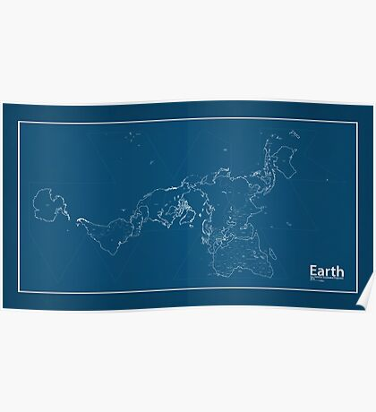 EARTH World Map Blueprint Poster