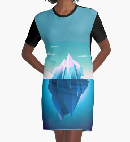 Quarz Iceberg Serenity Lowpoly Dream Graphic T-Shirt Dress
