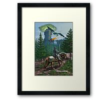 Knight on horseback approaching dragon guarded castle Framed Print