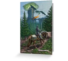 Knight on horseback approaching dragon guarded castle Greeting Card