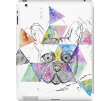 Cool French bulldog sketch watercolor triangles hand paint.  iPad Case/Skin