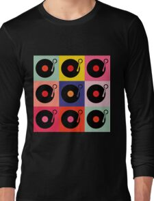 Vinyl Record Pop Collage Long Sleeve T-Shirt