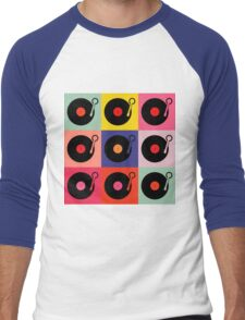 Vinyl Record Pop Collage Men's Baseball ¾ T-Shirt