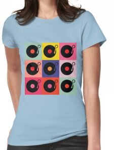 Vinyl Record Pop Collage Womens Fitted T-Shirt