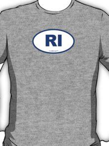 Rhode Island RI Euro Oval BLUE T-Shirt