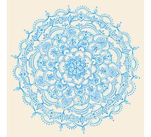 Pale Blue Pencil Pattern - hand drawn lace mandala Photographic Print