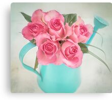 Five beautiful Pink Roses in a teal watering can Canvas Print