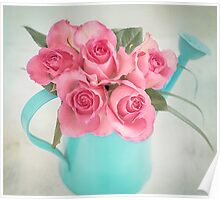 Five beautiful Pink Roses in a teal watering can Poster
