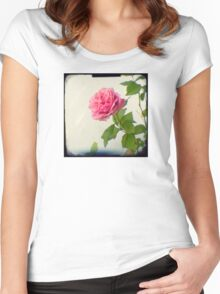 A single pink rose Women's Fitted Scoop T-Shirt