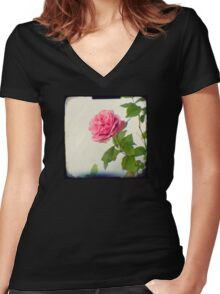 A single pink rose Women's Fitted V-Neck T-Shirt