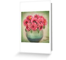 Beautiful Pink Dahlia's in a Green Vase Greeting Card