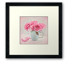 Mauve Roses in a Teal Coffee Cup Framed Print