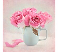 Mauve Roses in a Teal Coffee Cup Photographic Print