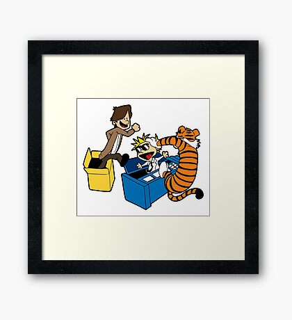 Doctor Who and Hobbes Framed Print