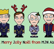 Cabin Pressure Christmas card: the MJN crew by redscharlach