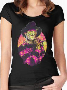 Neon Horror: Freddy  Women's Fitted Scoop T-Shirt