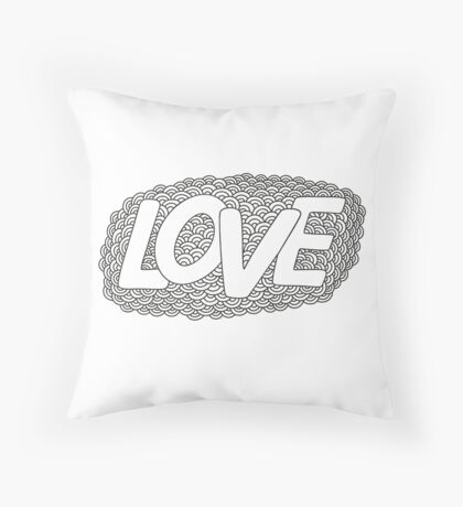 Love. Hand drawn doodle vector  illustration.  Throw Pillow
