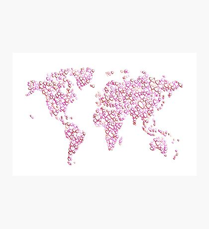 Love Hearts Map of the World Map Photographic Print