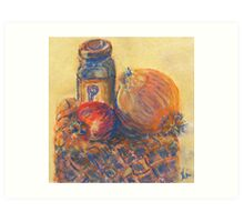 Pomegranate, Pepper, and Onion (pastel) Art Print