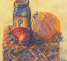 Pomegranate, Pepper, and Onion (pastel) by Niki Hilsabeck