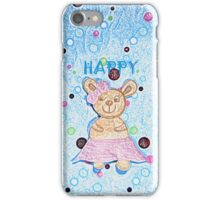 Lala the happy bear by Nikki Ellina iPhone Case/Skin
