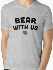 Bear With Us (Black) Mens V-Neck T-Shirt