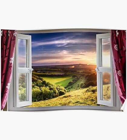 View through an open window onto beautiful landscape Poster