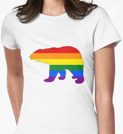 Rainbow Polar Bear Womens Fitted T-Shirt