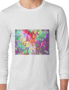 Watercolor Abstract Spring Flower Pattern Long Sleeve T-Shirt
