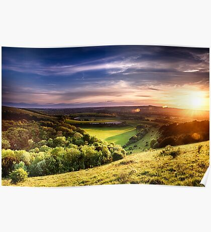Winchester hill sunset across farmland Poster