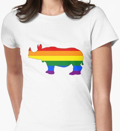 Rainbow Rhinoceros Womens Fitted T-Shirt