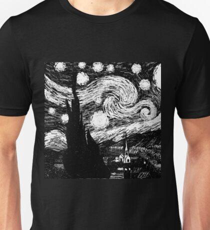 Black & White Starry Night Unisex T-Shirt
