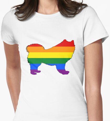 Rainbow Samoyed Womens Fitted T-Shirt