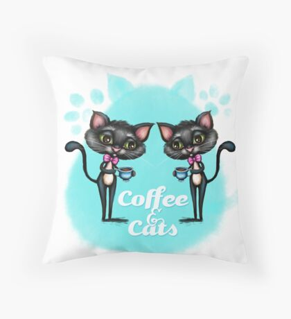 Coffee and Cats Throw Pillow