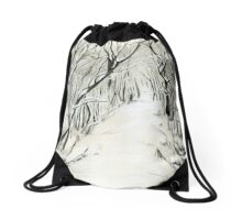 Winter Scene Drawstring Bag