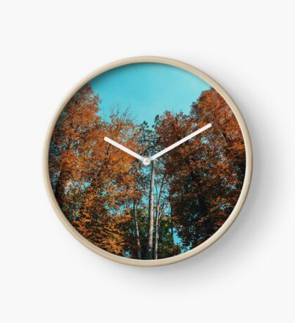 Green Forest Trees On Blue Sky Background Clock