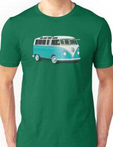 Split VW Bus Teal Hippie Van Unisex T-Shirt