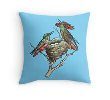 Hummingbirds on Nest  Throw Pillow