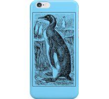 Vintage Penguin Art on Blue iPhone Case/Skin