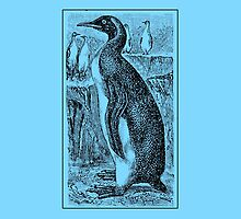 Vintage Penguin Art on Blue by Greenbaby