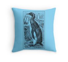 Vintage Penguin Art on Blue Throw Pillow