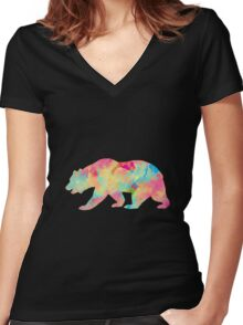 Abstract Bear Women's Fitted V-Neck T-Shirt